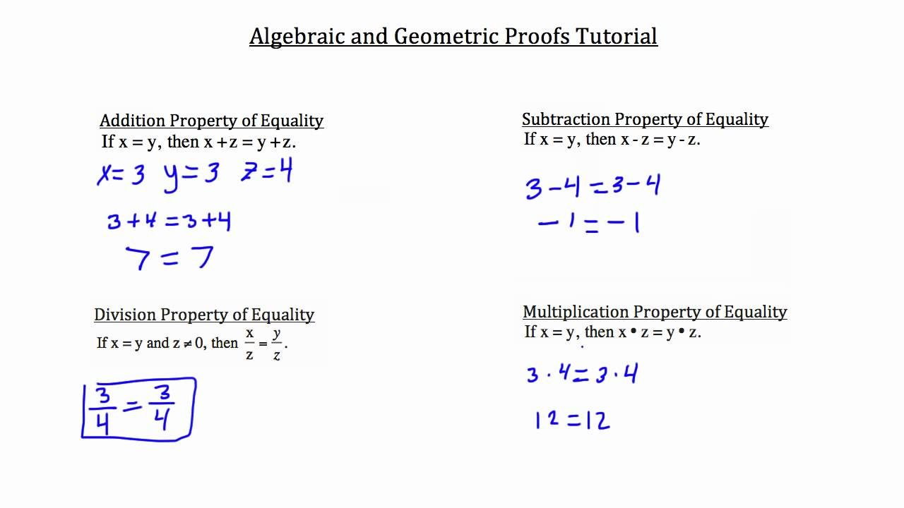 Algebraic and Geometric Proofs - YouTube