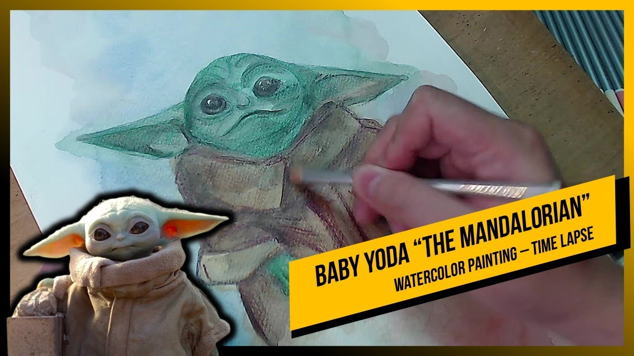 """Baby Yoda """"The Mandalorian"""" - Watercolor Painting Time Lapse"""