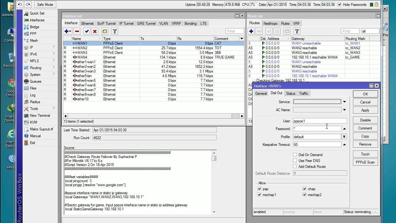 Mikrotik Script Auto Check Routing Fail Over (Net Cafe)