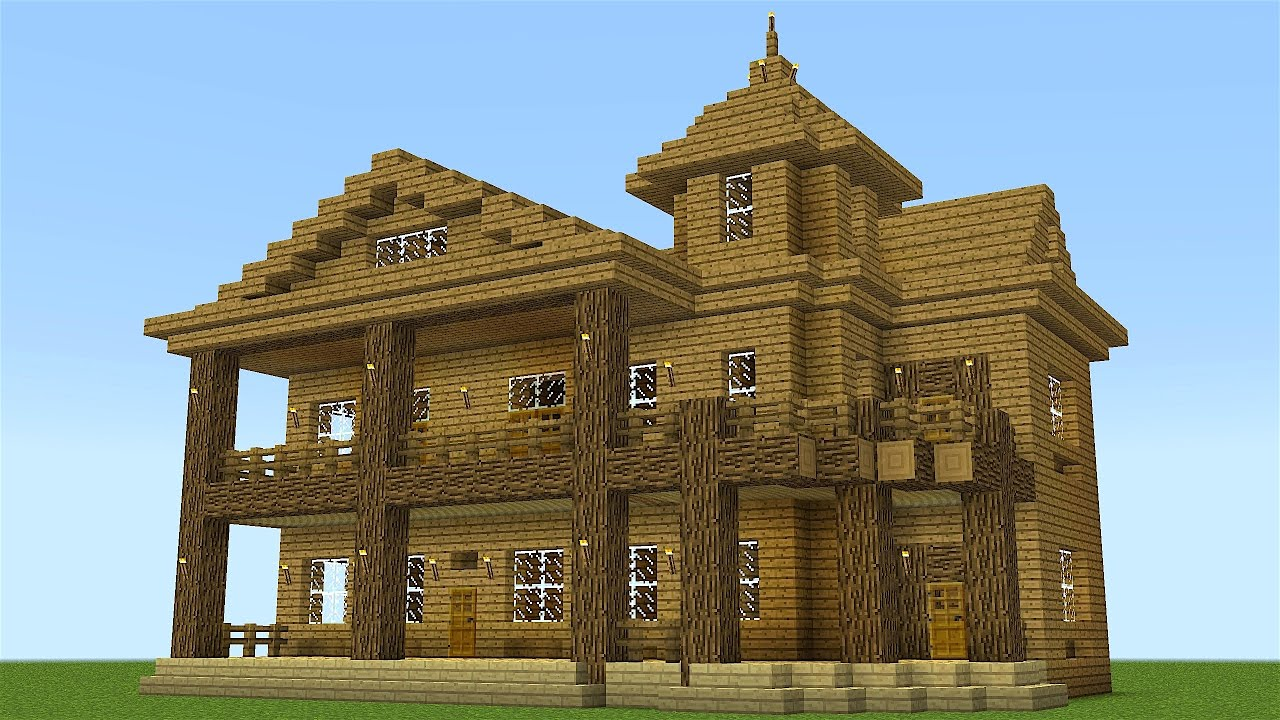 Minecraft how to build a huge wooden mansion youtube for Classic house tutorial