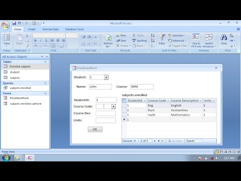 How to make simple enrollment form in MS Access Database #si