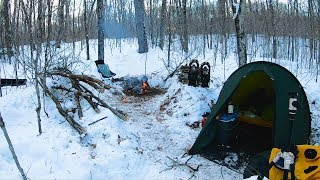 2 - Winter Camping at it's Best!  Cooking Rainbow Trout over a Campfire.