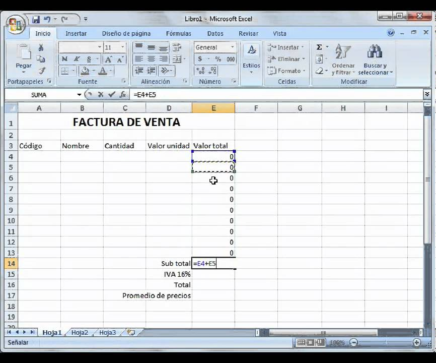 introducción a excel ejemplo factura youtube