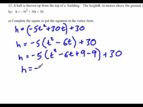 Quadratic Functions : Factoring by completing the square word ...