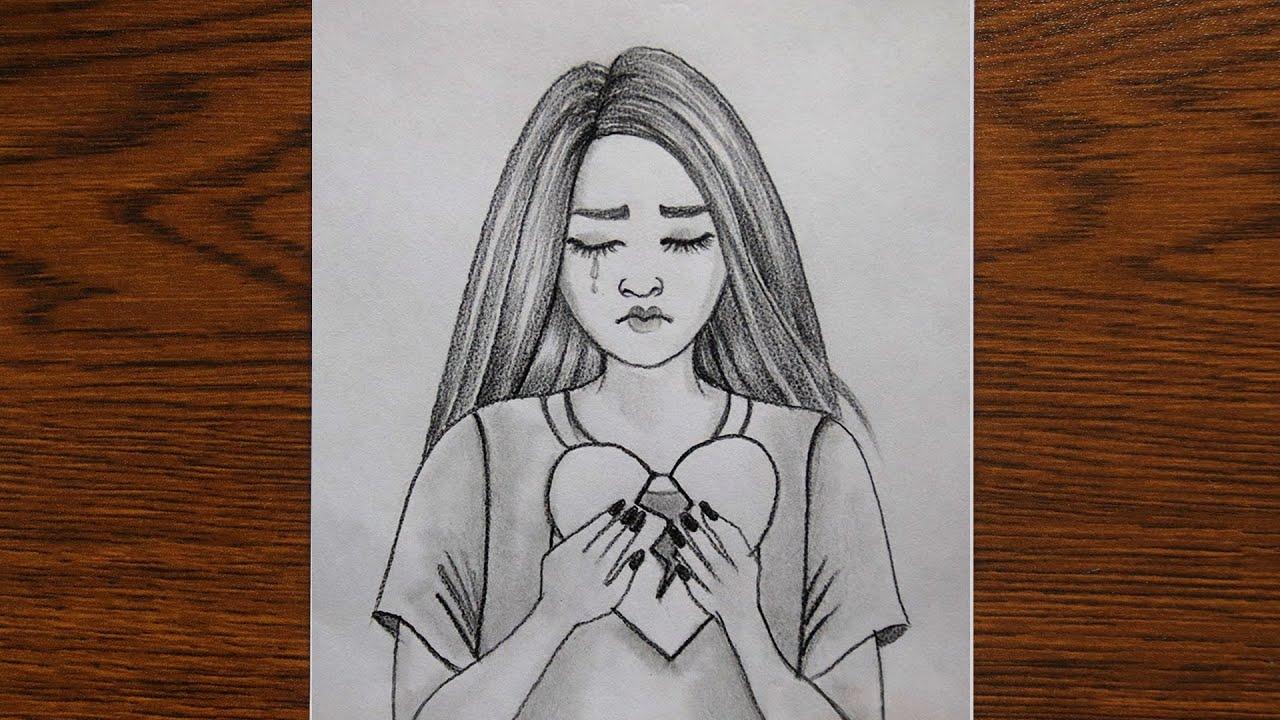 How to draw a sad girl easy | كيفية رسم وجه فتاة بقلم الرصاص للمبتدئين