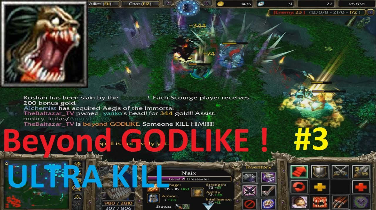 DotA 6.83d – Lifestealer, Nai'x Beyond GODLIKE ! #3 ( ULTRA KILL)