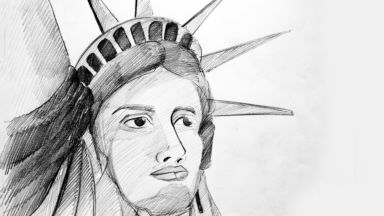How to draw the statue of liberty statue of liberty drawing statue of liberty face sketch