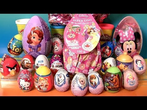 Thumbnail: Giant Princess Kinder Surprise Eggs Disney Frozen Elsa Anna Minnie Mickey Play-Doh Huevos Sorpresa