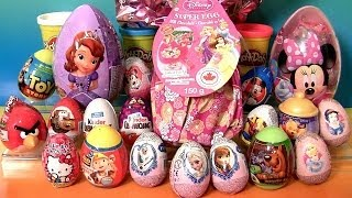Giant Princess Kinder Surprise Eggs Disney Frozen Elsa Anna Minnie Mickey Play-Doh Huevos Sorpresa thumbnail