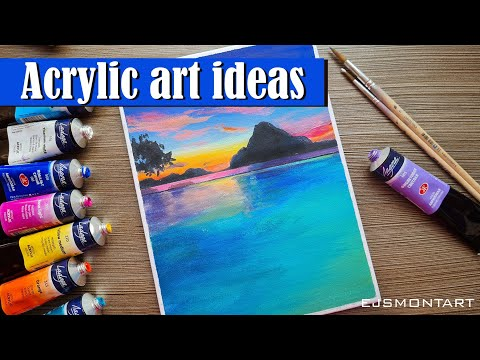 Seascape acrylic painting tutorial for beginners  / Acrylic painting ideas easy step by step #2