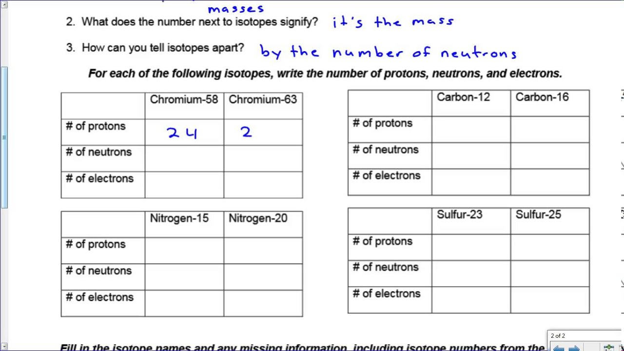 Worksheets Protons Neutrons And Electrons Practice Worksheet Answers ion isotope practice key youtube