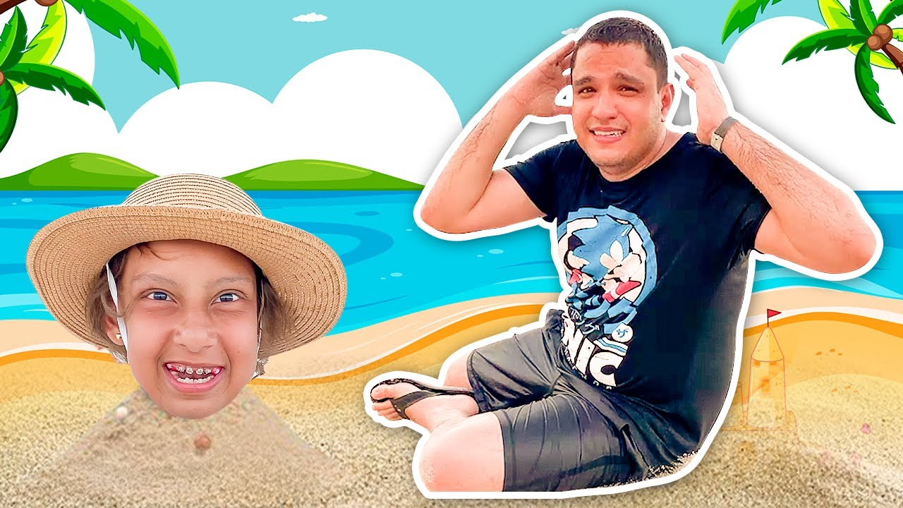 Maria Clara e tio se DIVERTEM juntos na PRAIA (Playing on the Beach) - Família MC Divertida