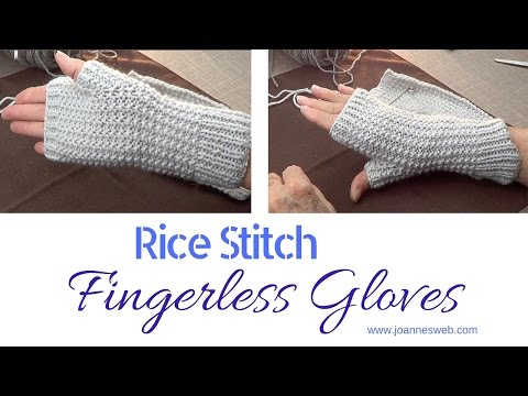 Rice Stitch Fingerless Gloves or Mittens - From Start to Finish Knitting