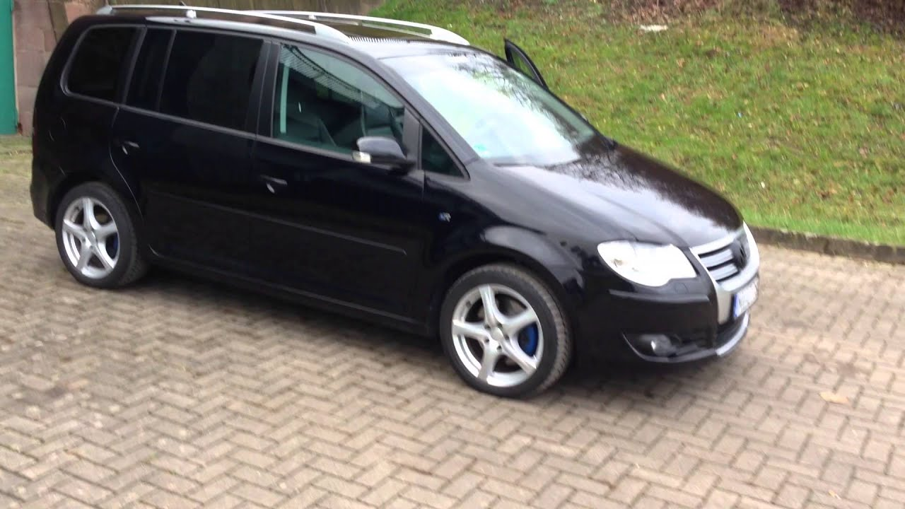 vw touran 1 4 2008 r line schwarz 8fach bereift leder navi cd festplatte usw youtube. Black Bedroom Furniture Sets. Home Design Ideas