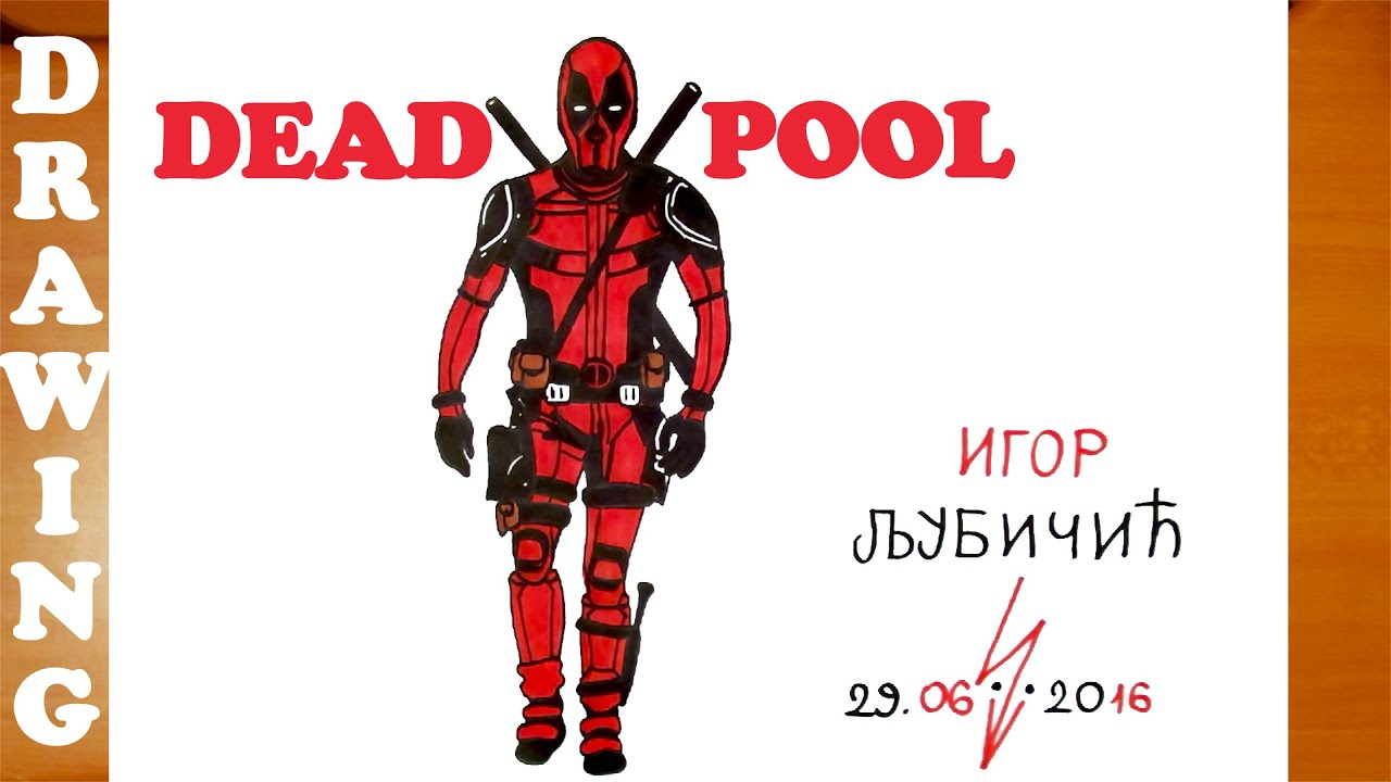 how to draw deadpool easy for kids full body from avengers deadpool movie and color mrusegoodart