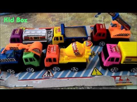 Construction Vehicles toy Xe máy xúc, cần cẩu, trộn bê tông, xe ben đồ chơi trẻ em Kid box
