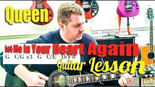 Queen - Let Me In (Your Heart Again) guitar tutorial (Free Chord Sheet Download)