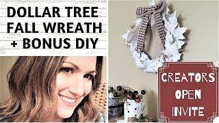 DOLLAR TREE FALL WREATH DIY - OPEN INVITE - NEUTRAL FALL WREATH - LANTERN UPCYCLE