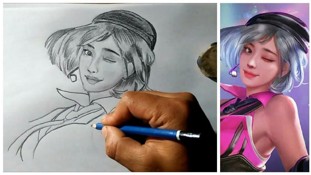 Belajar Menggambar Karakter Kapella Free Fire Dengan Pensil Youtube