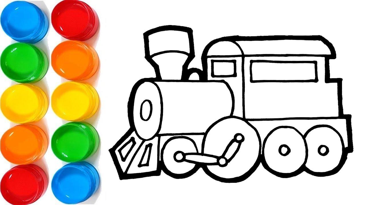 Gambar Kereta Api Untuk Mewarnai Rainbow Kereta Api Belajar Menggambar Dan Mewarnai Youtube