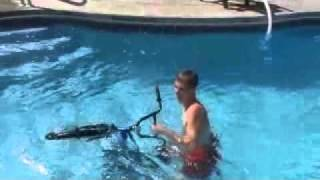 jumping bike into pool
