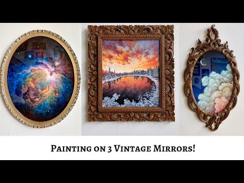 Acrylic Painting Time-Lapse on 3 Vintage Mirrors (ColorByFel