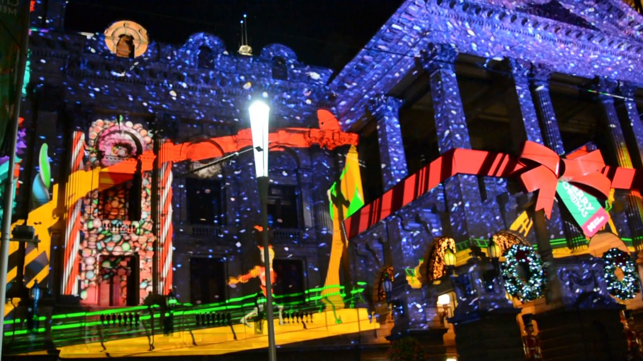 Christmas Lights Projection Town Hall Melbourne Cbd