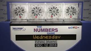 Evening Numbers Game Drawing: Wednesday, December 12, 2018