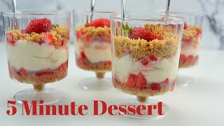 No Bake Strawberry Cheesecake  Cups|Easy dessert in 5 mins