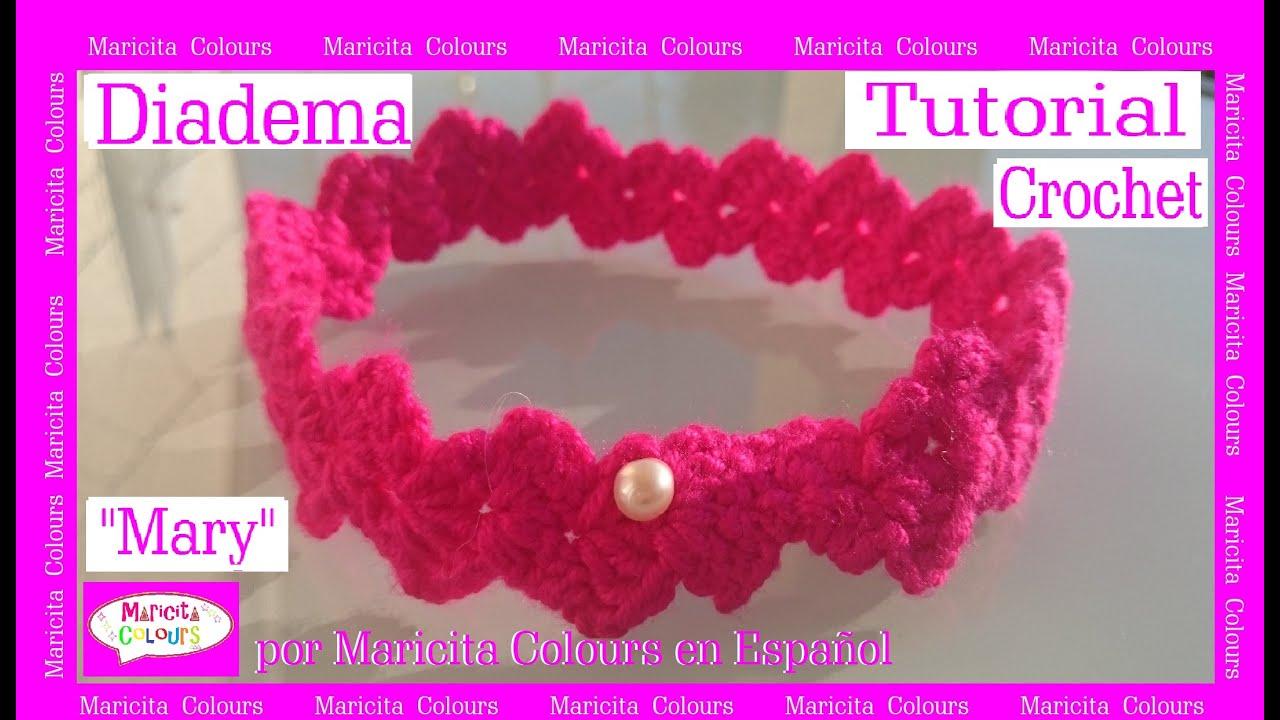 Diadema vincha a crochet mary por maricita colours - Diademas a crochet ...
