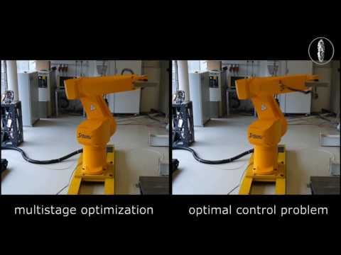 Time-optimal motions with an industrial robot (Stäubli RX130L)