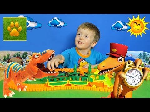 Детям про Динозавров Хищники и Травоядные Поезд  Динозавров Все Серии Подряд Сборник для Детей