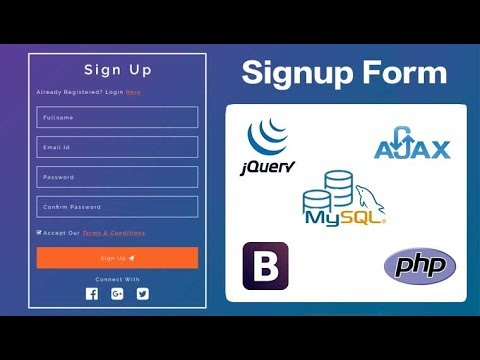 Ajax Signup Form Using Bootstrap Jquery Php And Mysql Youtube