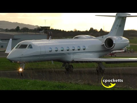 Beautiful Gulfstream G-V-SP G550 VP-BSI - Extreme Close up take off - Gloucestershire Airport