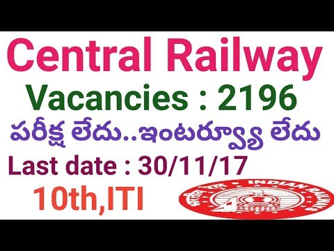 central Railway 2196 Vacancies Recruitment Notification For Apprentice 2017