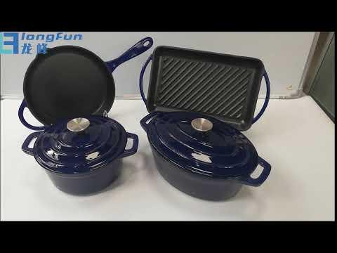 Enamel Cast Iron Cookware Set Casserole Frying Pan Griddle