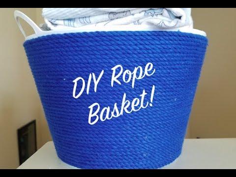 dollar store diy ep 30 how to make a rope basket youtube. Black Bedroom Furniture Sets. Home Design Ideas