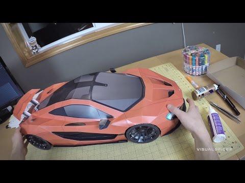 Building the McLaren P1 supercar paper model . Artist POV