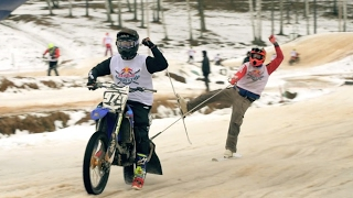 Extreme Ski Racing Behind Motorcycles | Red Bull Twitch N