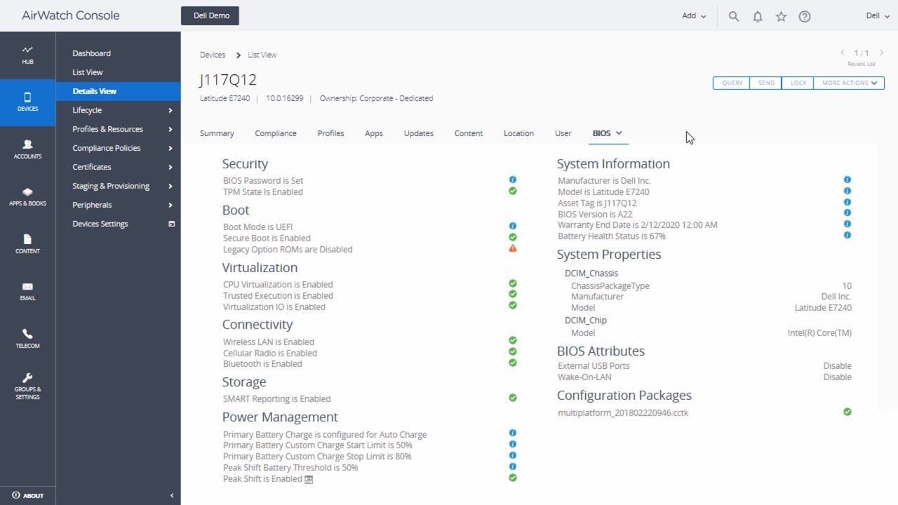 Integrating with Dell Client Command Suite: VMware Workspace ONE