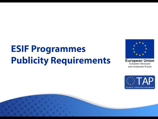 ESIF TAP - Publicity Requirements