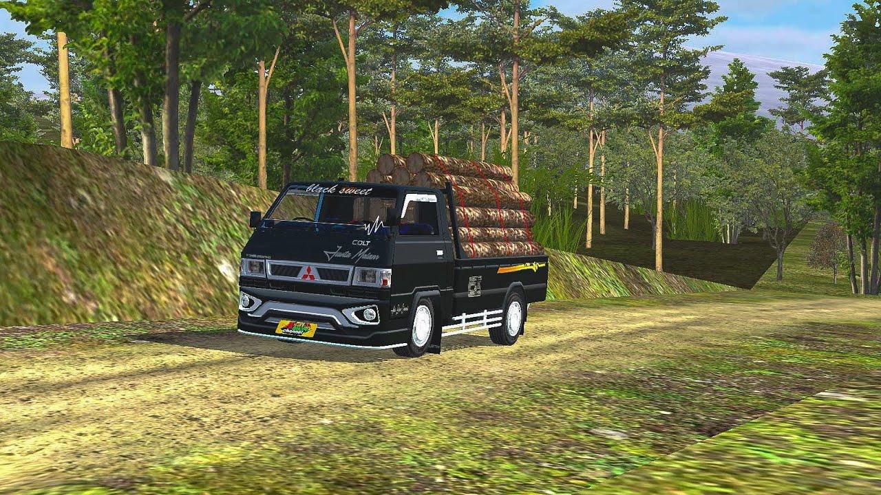 rilis!! mod pickup  l300 by souleh art,muatan kayu super oleng || mod bussid