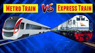 METRO TRAIN ANIMATION | LOCAL TRAIN ANIMATION | METRO TRAIN VS LOCAL TRAIN