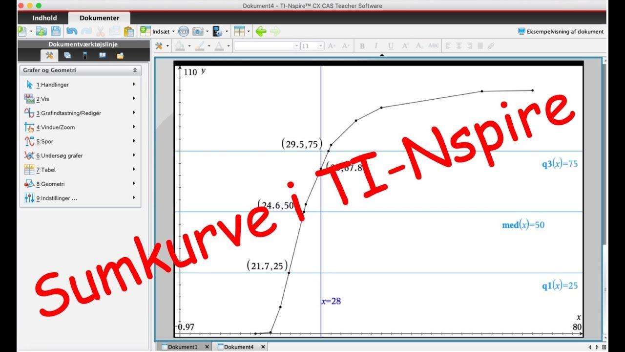 Grupperede data - tabel & sumkurve i Nspire