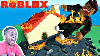 FLYING OFF A HOUSE ON FIRE! - Let's Play Roblox NATURAL DISASTERS! - Playonyx
