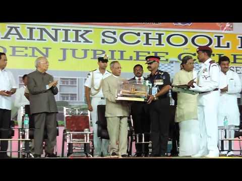 Sainik School Bijapur- GJ, Col R Balaji felicitating Shri Pranab Mukherjee,President of India