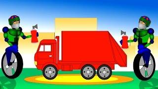 Мультик про машины. Роботы раскрашивают мусоровозы. Учим цвета
