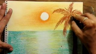 How to draw sunset scenery using dry pastels very easy