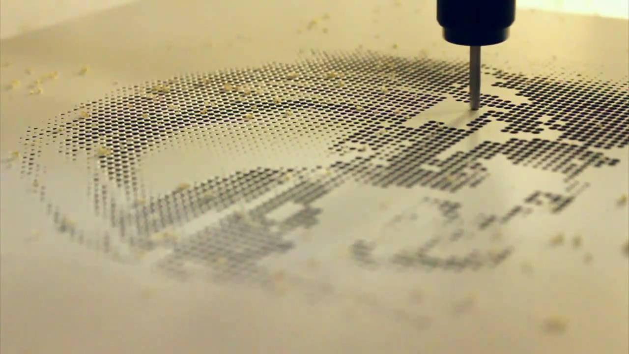 CNC - Halftone picture carved on wood - YouTube