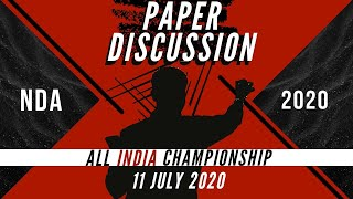 NDA ALL INDIA CHAMPIONSHIP (LIVE PAPER DISCUSSION) - TODAY 8PM!!!!